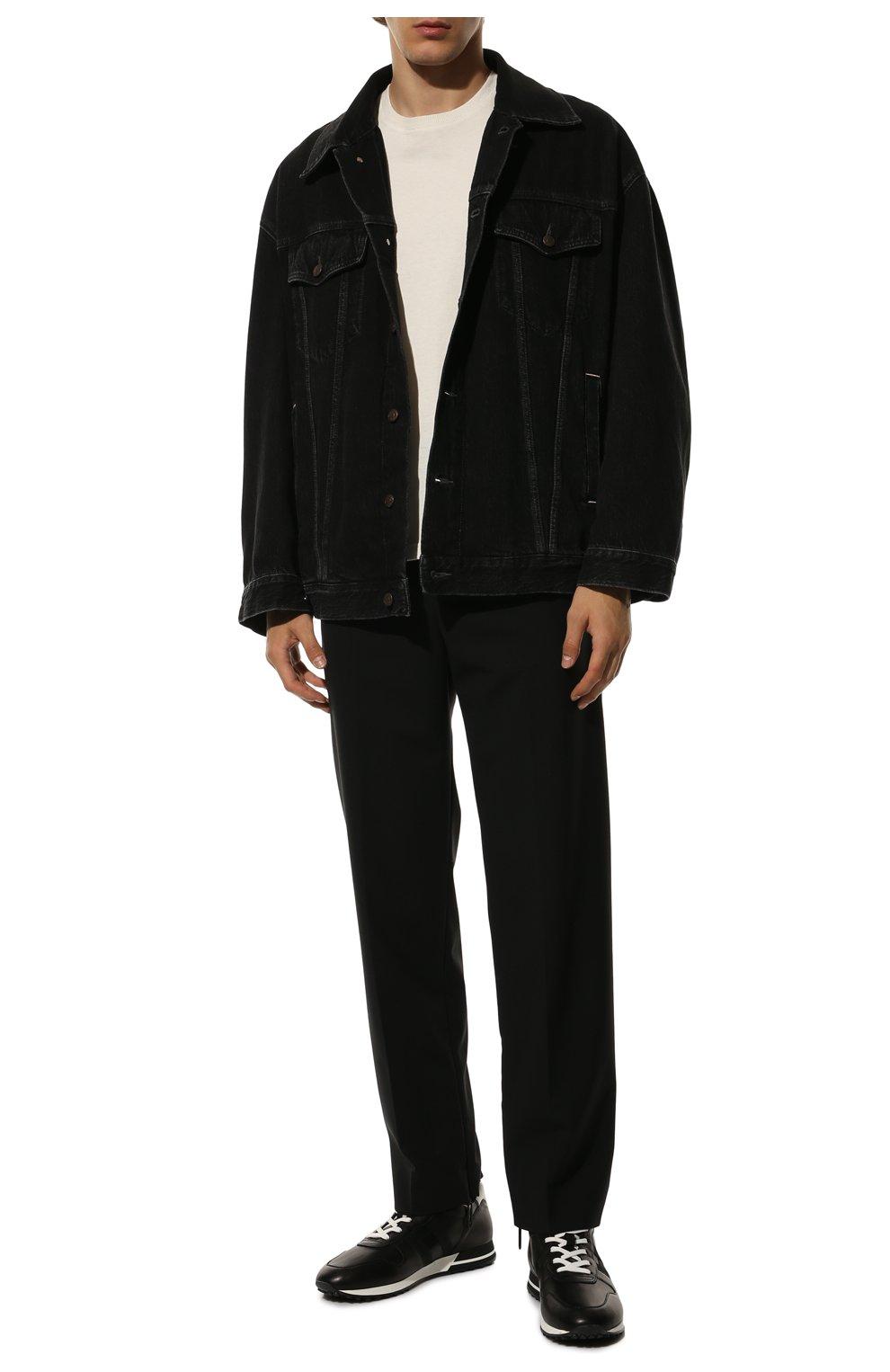 Мужские кожаные кроссовки HOGAN черного цвета, арт. HXM3830AN51LE9   Фото 2 (Материал внутренний: Натуральная кожа, Текстиль; Подошва: Массивная)