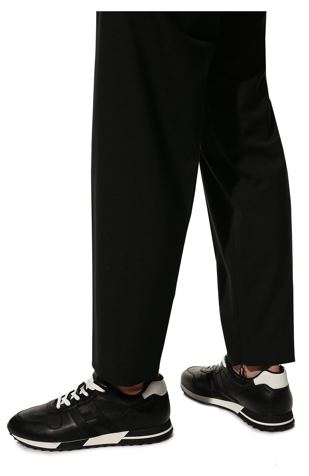 Мужские кожаные кроссовки HOGAN черного цвета, арт. HXM3830AN51LE9   Фото 3 (Материал внутренний: Натуральная кожа, Текстиль; Подошва: Массивная)