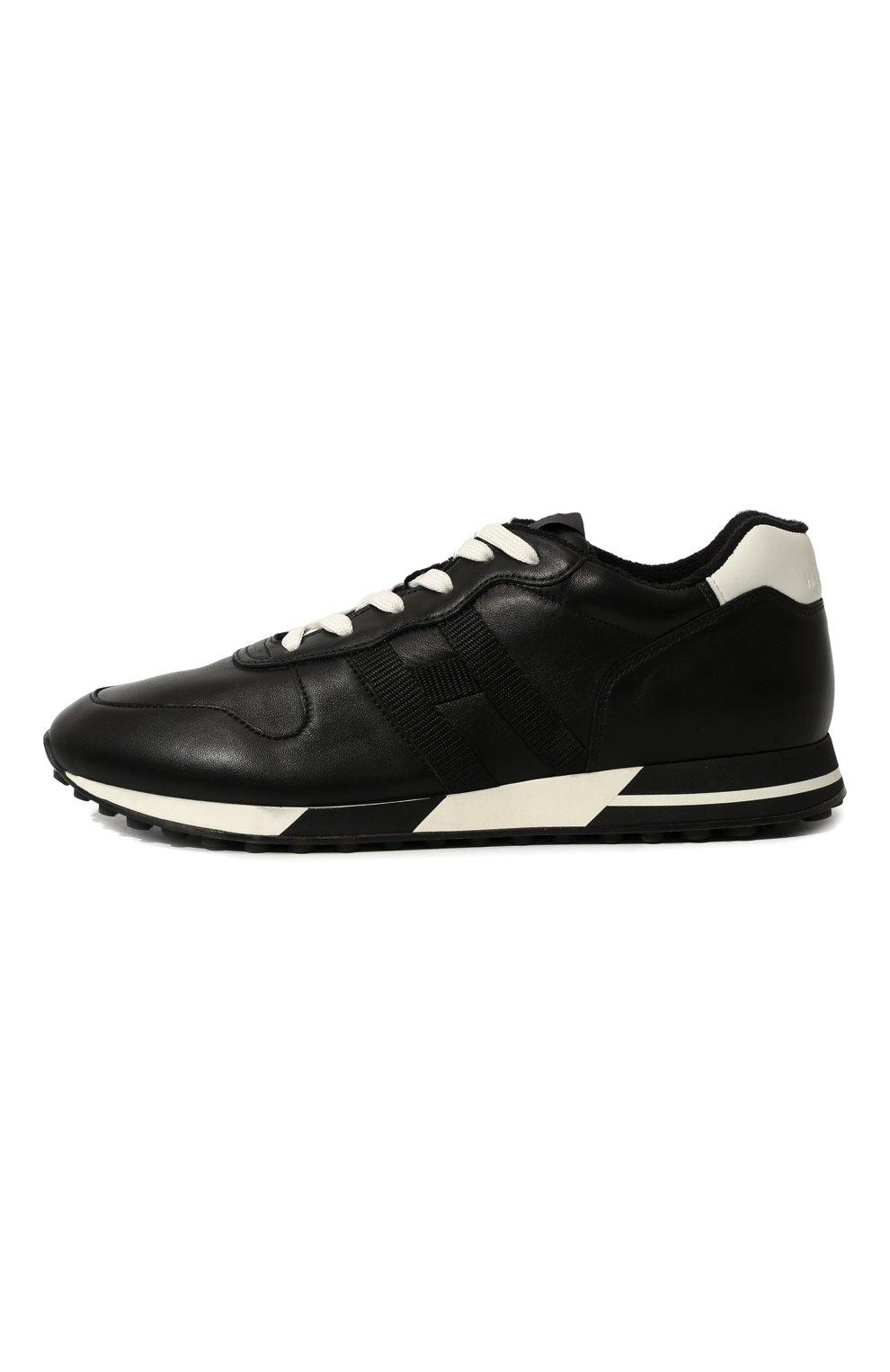 Мужские кожаные кроссовки HOGAN черного цвета, арт. HXM3830AN51LE9   Фото 4 (Материал внутренний: Натуральная кожа, Текстиль; Подошва: Массивная)