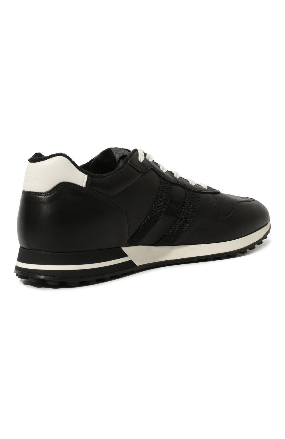 Мужские кожаные кроссовки HOGAN черного цвета, арт. HXM3830AN51LE9   Фото 5 (Материал внутренний: Натуральная кожа, Текстиль; Подошва: Массивная)
