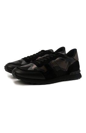 Мужские комбинированные кроссовки valentino garavani rockrunner VALENTINO черного цвета, арт. TY2S0723/NTA | Фото 1