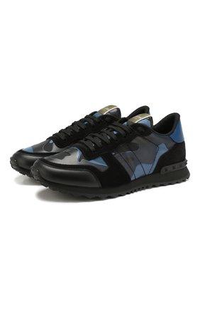 Мужские комбинированные кроссовки valentino garavani rockrunner VALENTINO темно-синего цвета, арт. TY2S0723/TCC | Фото 1