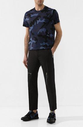 Мужские комбинированные кроссовки valentino garavani rockrunner VALENTINO темно-синего цвета, арт. TY2S0723/TCC | Фото 2