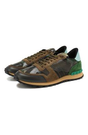 Мужские комбинированные кроссовки valentino garavani rockrunner VALENTINO хаки цвета, арт. TY2S0723/TCC   Фото 1