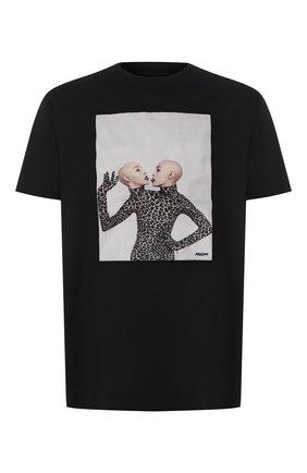 Мужская хлопковая футболка LIMITATO черного цвета, арт. THINK TWICE | Фото 1