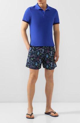 Мужское хлопковое поло VILEBREQUIN синего цвета, арт. PLTC0N00   Фото 2