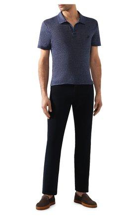Мужское льняное поло VILEBREQUIN темно-синего цвета, арт. PYRE9O00 | Фото 2
