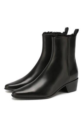 Женские кожаные ботинки reno PIERRE HARDY черного цвета, арт. QE01F/CALF-LINING RABBIT | Фото 1