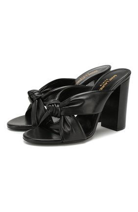 Женские кожаные мюли loulou SAINT LAURENT черного цвета, арт. 608536/1N800 | Фото 1