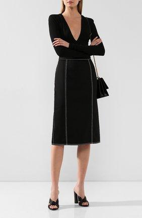Женские кожаные мюли loulou SAINT LAURENT черного цвета, арт. 608536/1N800 | Фото 2
