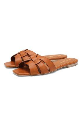 Женские кожаные шлепанцы nu pieds SAINT LAURENT коричневого цвета, арт. 571952/BDA00 | Фото 1