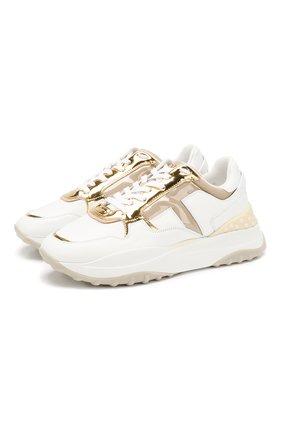 Женские кожаные кроссовки TOD'S золотого цвета, арт. XXW45B0BB51NKD | Фото 1