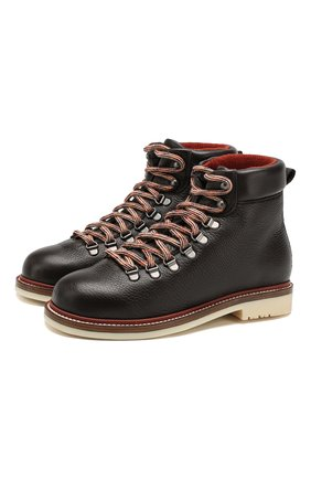 Женские кожаные ботинки lady laax walk LORO PIANA коричневого цвета, арт. FAI8576 | Фото 1