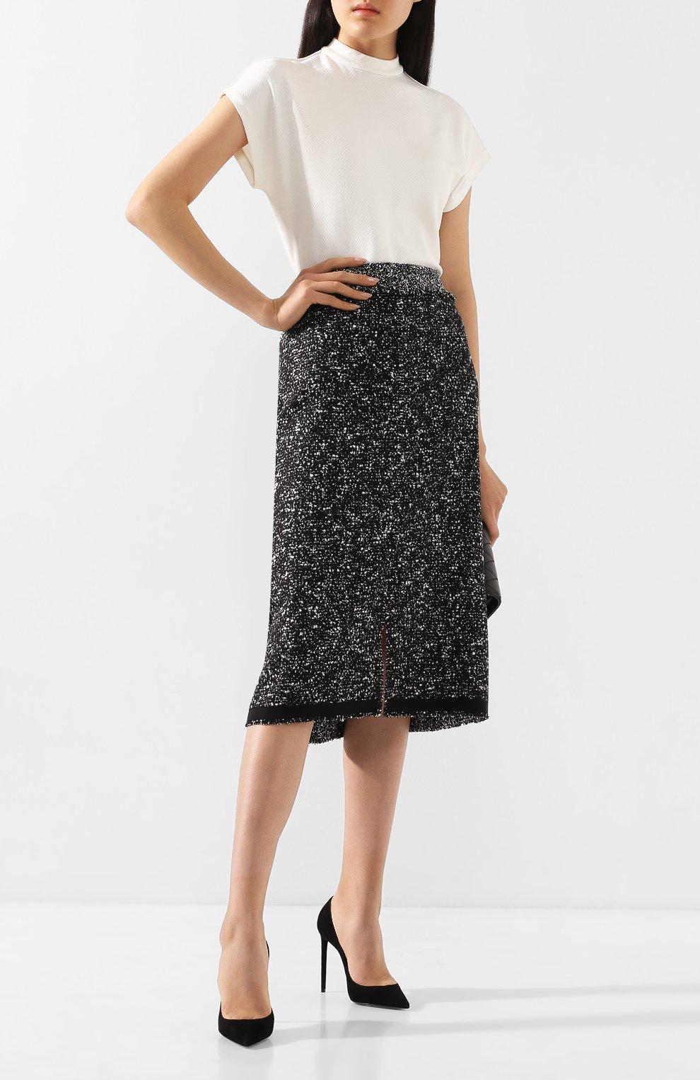 Женская юбка BOSS черно-белого цвета, арт. 50420062 | Фото 2