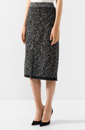 Женская юбка BOSS черно-белого цвета, арт. 50420062 | Фото 3