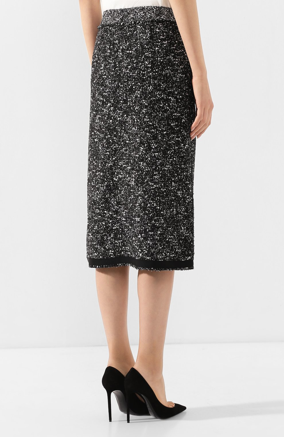 Женская юбка BOSS черно-белого цвета, арт. 50420062 | Фото 4