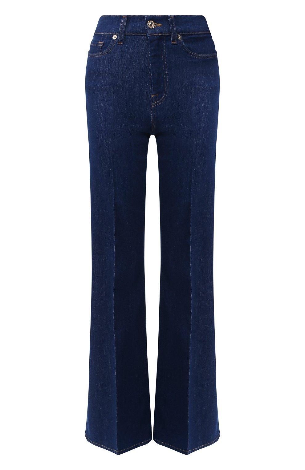 Женские расклешенные джинсы 7 FOR ALL MANKIND синего цвета, арт. JSQIB120BR   Фото 1 (Длина (брюки, джинсы): Удлиненные; Кросс-КТ: Деним; Силуэт Ж (брюки и джинсы): Расклешенные; Материал внешний: Хлопок, Деним; Статус проверки: Проверена категория)