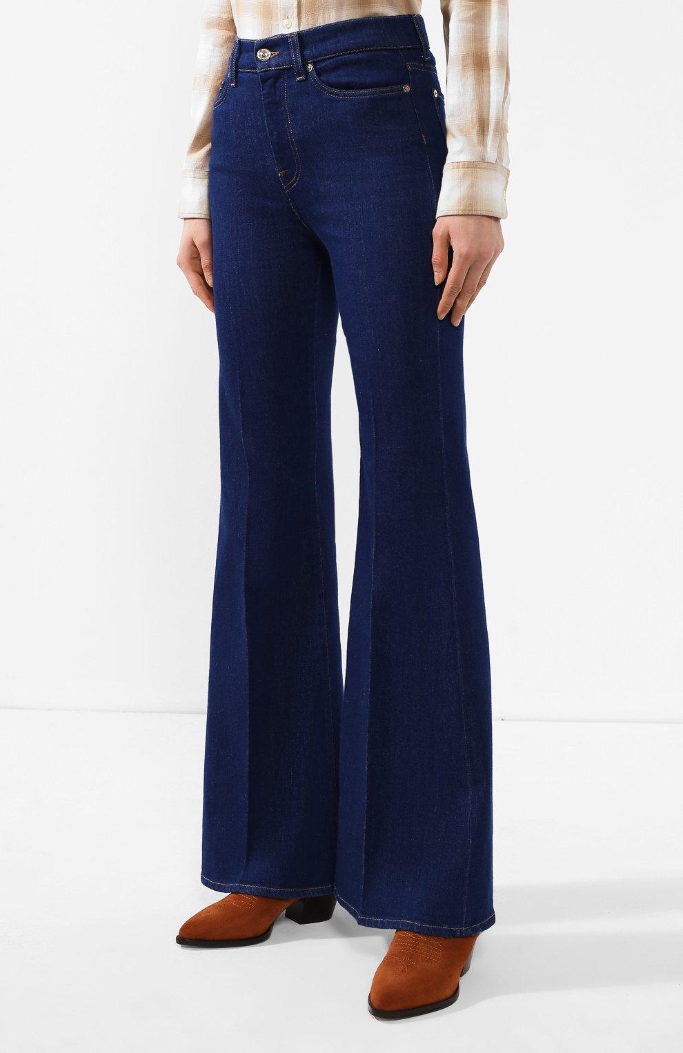 Женские расклешенные джинсы 7 FOR ALL MANKIND синего цвета, арт. JSQIB120BR   Фото 3 (Длина (брюки, джинсы): Удлиненные; Кросс-КТ: Деним; Силуэт Ж (брюки и джинсы): Расклешенные; Материал внешний: Хлопок, Деним; Статус проверки: Проверена категория)