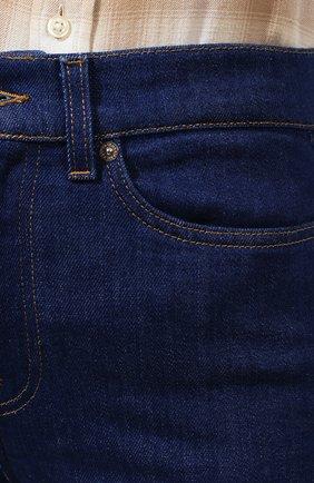 Женские расклешенные джинсы 7 FOR ALL MANKIND синего цвета, арт. JSQIB120BR   Фото 5 (Длина (брюки, джинсы): Удлиненные; Кросс-КТ: Деним; Силуэт Ж (брюки и джинсы): Расклешенные; Материал внешний: Хлопок, Деним; Статус проверки: Проверена категория)