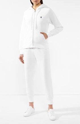Женский хлопковая толстовка POLO RALPH LAUREN белого цвета, арт. 211794396 | Фото 2 (Женское Кросс-КТ: Толстовка-спорт, Кардиган-одежда; Рукава: Длинные; Материал внешний: Хлопок; Длина (для топов): Стандартные; Кросс-КТ: Спорт)