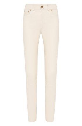 Женские кожаные брюки POLO RALPH LAUREN белого цвета, арт. 211765887 | Фото 1