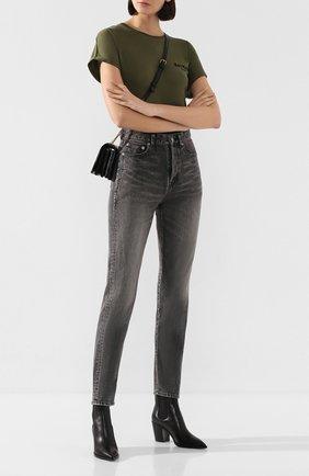 Женские джинсы SAINT LAURENT темно-серого цвета, арт. 596954/Y8990 | Фото 2