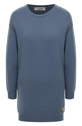 Женский кашемировый свитер VALENTINO голубого цвета, арт. TB3KCA8553Q   Фото 1 (Длина (для топов): Удлиненные; Рукава: Длинные; Материал внешний: Шерсть, Кашемир; Стили: Кэжуэл, Минимализм, Классический; Женское Кросс-КТ: Свитер-одежда)