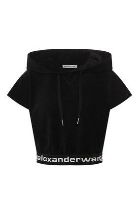 Женская топ с капюшоном ALEXANDERWANG.T черного цвета, арт. 4W491009U9 | Фото 1
