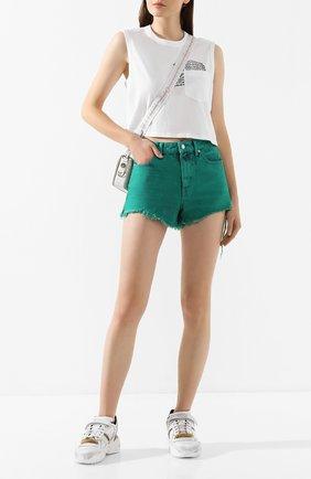 Женские джинсовые шорты DENIM X ALEXANDER WANG зеленого цвета, арт. 4DC1204612 | Фото 2