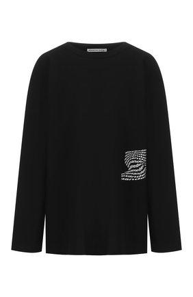 Женская хлопковый лонгслив ALEXANDERWANG.T черного цвета, арт. 4CC1201090 | Фото 1