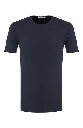 Мужские хлопковая футболка DIRK BIKKEMBERGS темно-синего цвета, арт. VBKT04085 | Фото 1