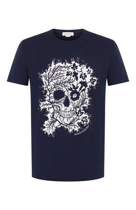 Мужская хлопковая футболка ALEXANDER MCQUEEN темно-синего цвета, арт. 599560/Q0Z66 | Фото 1