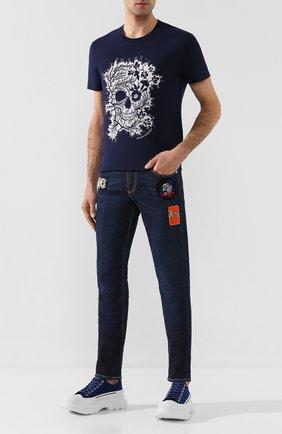 Мужская хлопковая футболка ALEXANDER MCQUEEN темно-синего цвета, арт. 599560/Q0Z66 | Фото 2