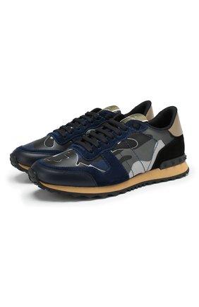 Мужские комбинированные кроссовки rockrunner VALENTINO темно-синего цвета, арт. TY2S0723/XVU | Фото 1 (Материал внешний: Текстиль; Материал внутренний: Текстиль; Подошва: Массивная; Стили: Гранж)