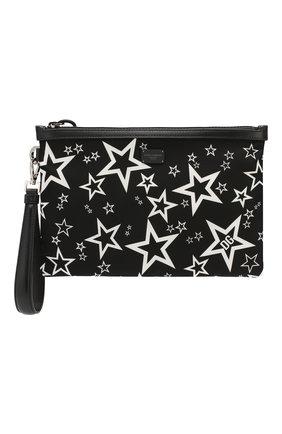 Мужская текстильный клатч millennials star DOLCE & GABBANA черно-белого цвета, арт. BM1769/AJ610 | Фото 1