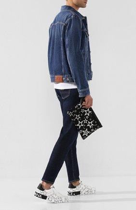 Мужская текстильный клатч millennials star DOLCE & GABBANA черно-белого цвета, арт. BM1769/AJ610 | Фото 2