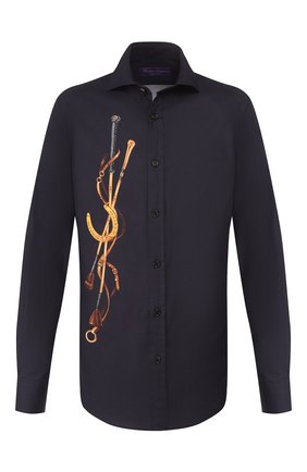 Мужская хлопковая рубашка RALPH LAUREN темно-синего цвета, арт. 790765497 | Фото 1 (Длина (для топов): Стандартные; Материал внешний: Хлопок; Рукава: Длинные; Статус проверки: Проверено; Случай: Повседневный)