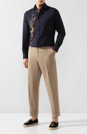 Мужская хлопковая рубашка RALPH LAUREN темно-синего цвета, арт. 790765497 | Фото 2