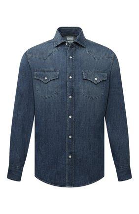 Мужская джинсовая рубашка BRUNELLO CUCINELLI синего цвета, арт. ME6454008 | Фото 1