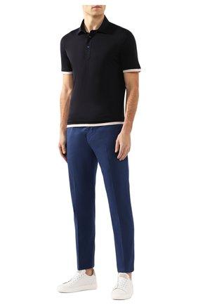 Мужское поло из смеси шелка и хлопка BRUNELLO CUCINELLI темно-синего цвета, арт. MTS463966 | Фото 2