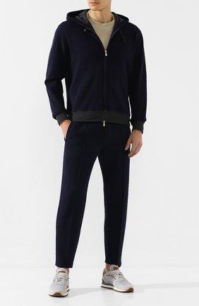 Мужские комбинированные кроссовки BRUNELLO CUCINELLI светло-серого цвета, арт. MZUJSBA240 | Фото 2