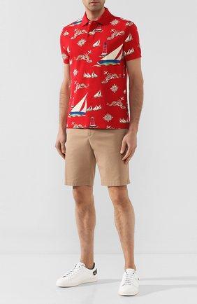 Мужское хлопковое поло POLO RALPH LAUREN красного цвета, арт. 710765284 | Фото 2