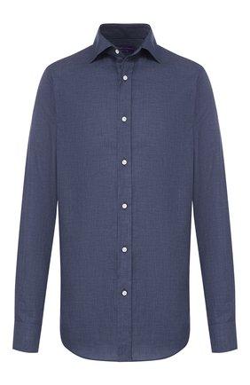 Мужская хлопковая рубашка RALPH LAUREN темно-синего цвета, арт. 790780991 | Фото 1