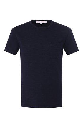 Мужские хлопковая футболка ORLEBAR BROWN темно-синего цвета, арт. 270182 | Фото 1