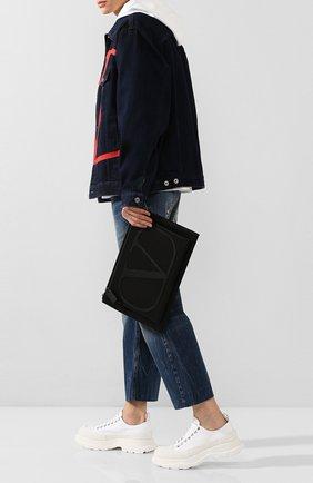 Мужская текстильный клатч valentino garavani vlogo VALENTINO черного цвета, арт. SY0B0863/MLI | Фото 2