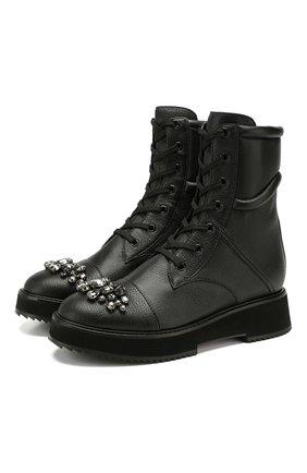Женские кожаные ботинки hadley JIMMY CHOO черного цвета, арт. HADLEY FLAT/YAS | Фото 1