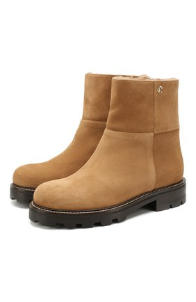 Женские замшевые ботинки haysel JIMMY CHOO светло-коричневого цвета, арт. HAYSEL FLAT/0DI | Фото 1