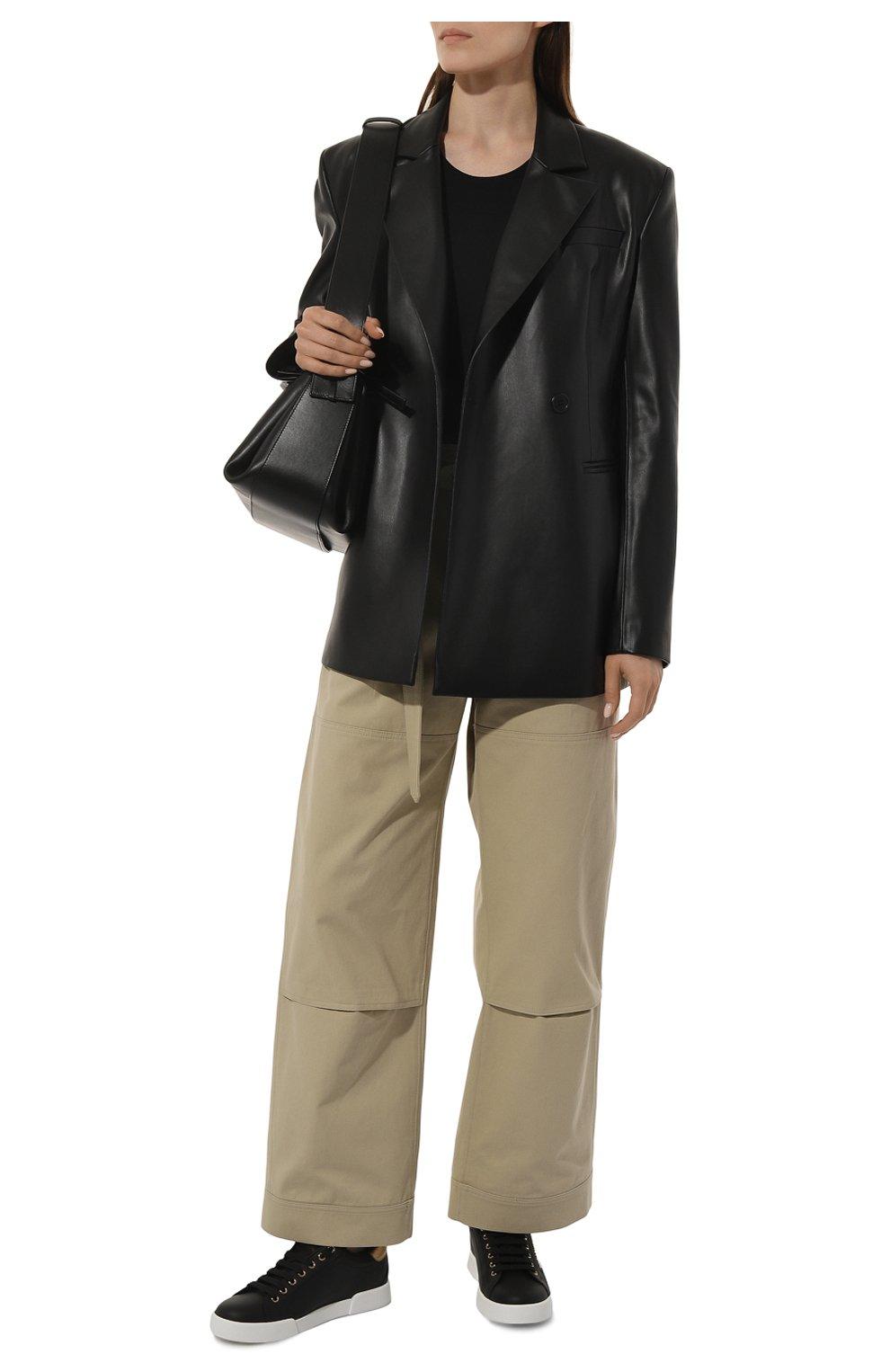 Женские кожаные кеды portofino DOLCE & GABBANA черного цвета, арт. CK1602/AN298 | Фото 2