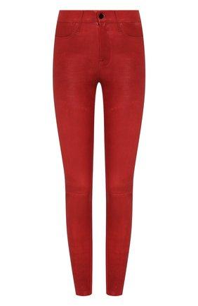 Женские кожаные брюки FRAME DENIM красного цвета, арт. LWLT0306 | Фото 1