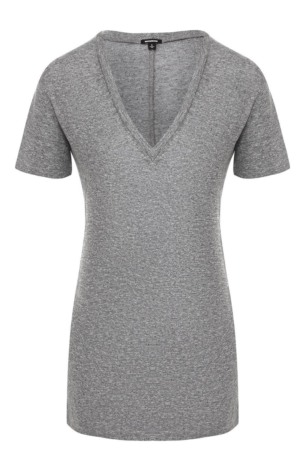 Женская футболка MONROW серого цвета, арт. HT218MHJ | Фото 1
